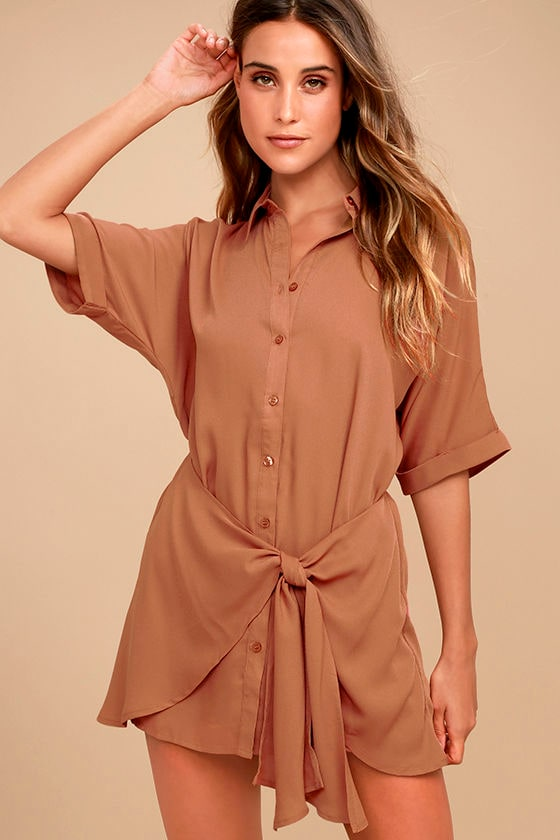 Go With the Flow Light Brown Shirt Dress 2