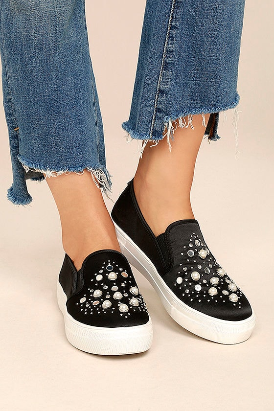 sale genuine shoes factory outlet Steve Madden Glade Sneakers - Black Satin Sneakers - Slip-On ...