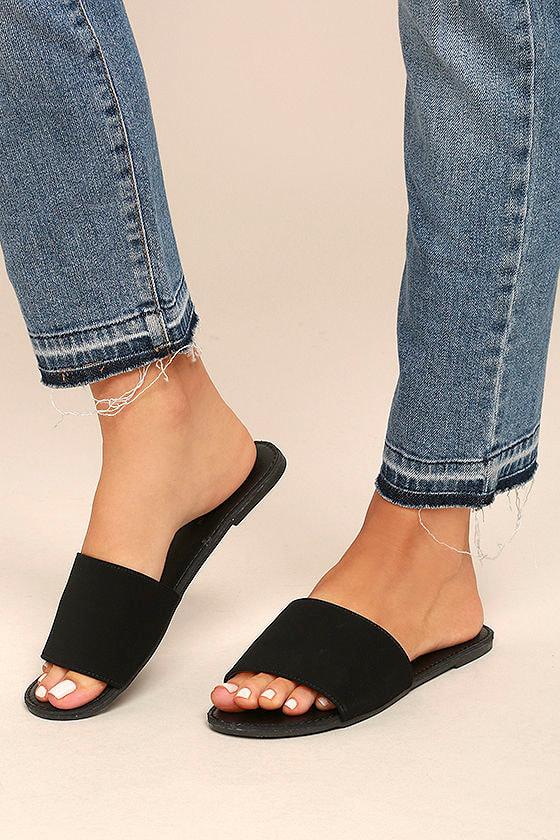 Addison Black Nubuck Slide Sandals 4