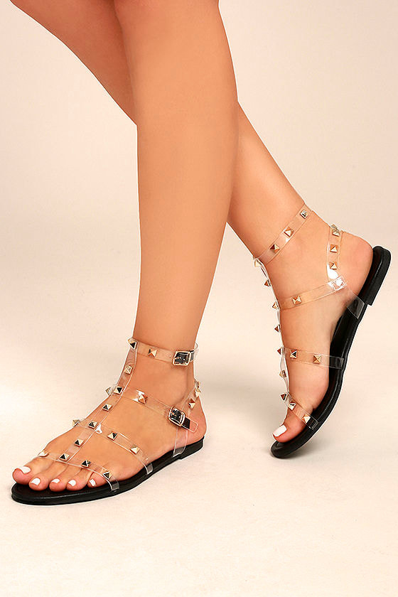 Josie Black Lucite Studded Gladiator Sandals 4