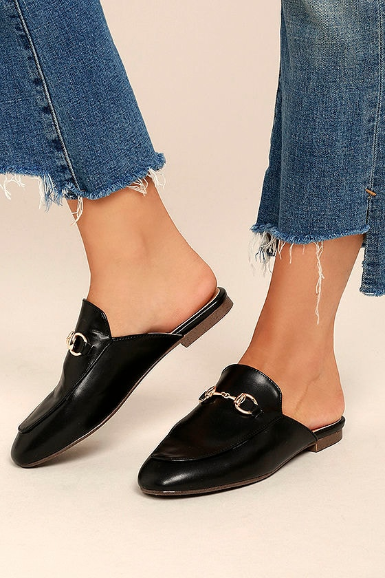 Luxe Loafer Slides - Black Loafer