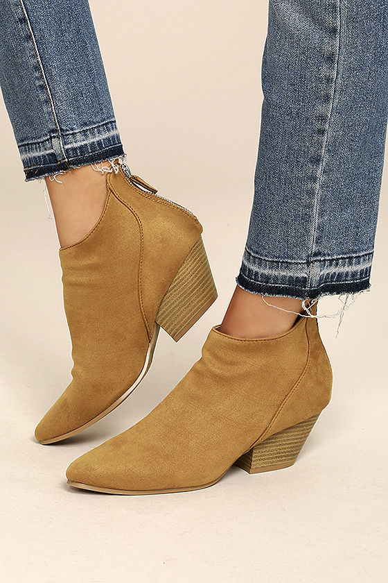 Misha Moss Tan Suede Ankle Booties 4