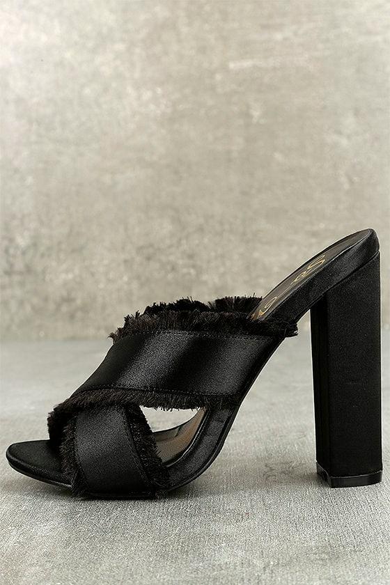 Taya Black Satin High Heel Sandals 1