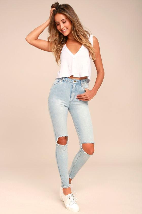 9545d4ffa8b Rollas Eastcoast Staple - Light Blue Skinny Jeans - Distressed Skinny Jeans  -  99.00
