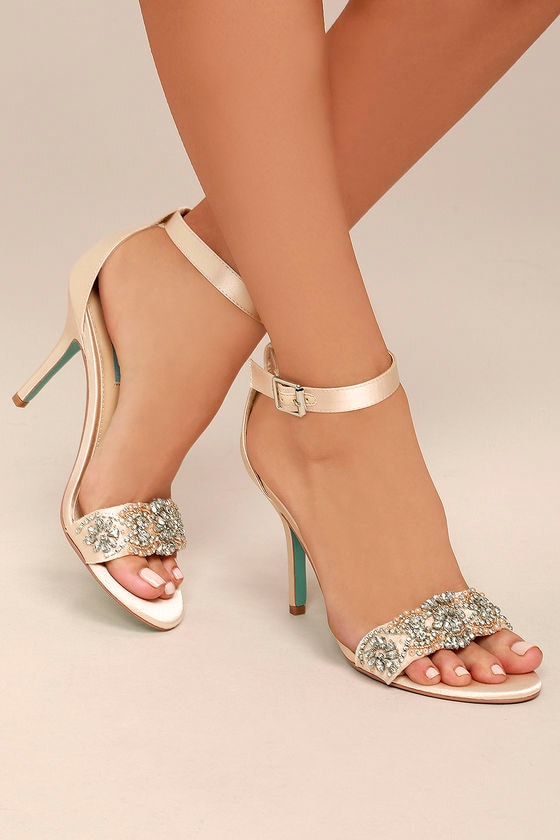 a08aa8273fed2b Blue by Betsey Johnson Gina - Champagne Satin Heels - Ankle Strap ...