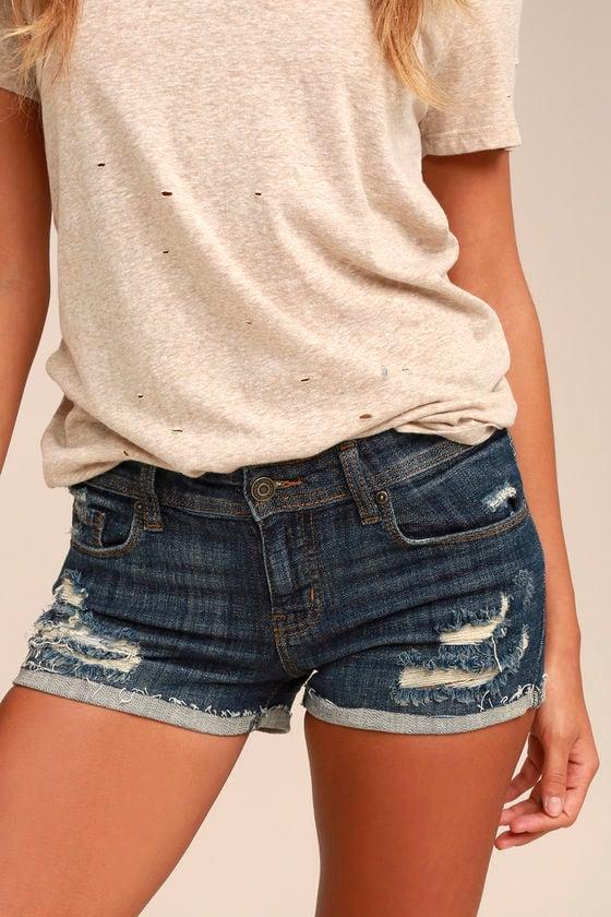 5853973533 Dark Wash Shorts - Distressed Shorts - Denim Shorts - $40.00
