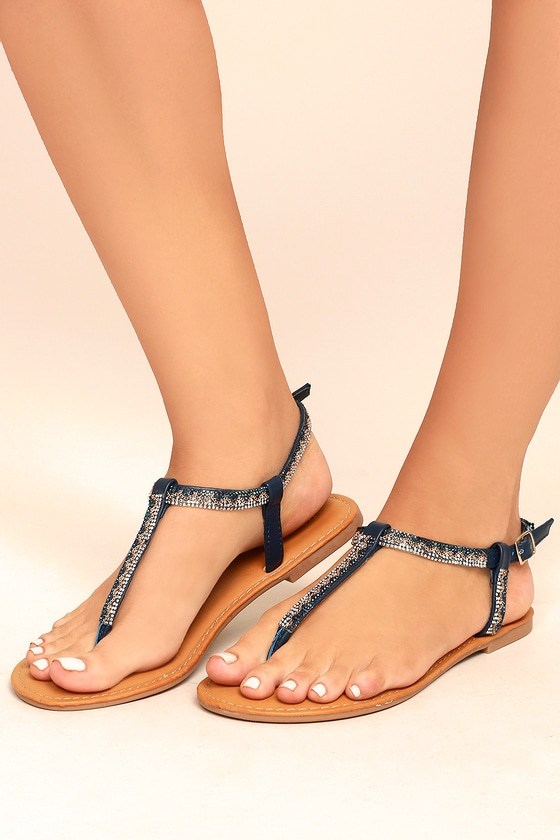 16f3fec4b8b7 Chic Blue Sandals - Rhinestone Sandals - Beaded Sandals - Flat ...