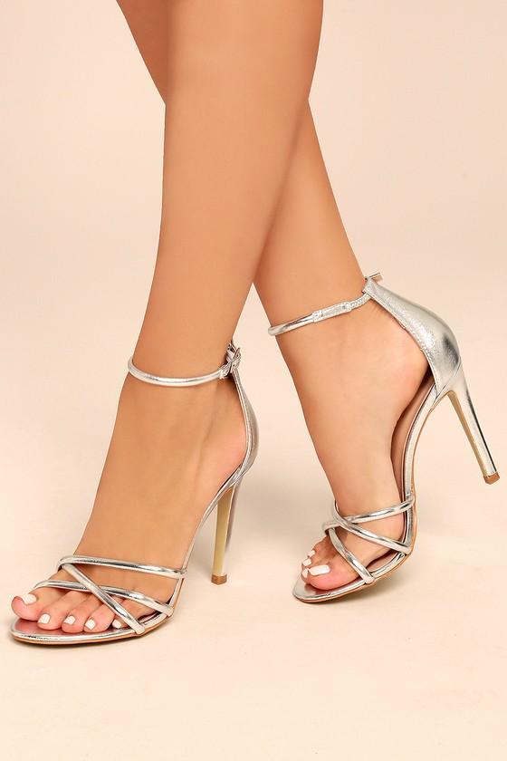 chic metallic heels silver ankle strap heels vegan