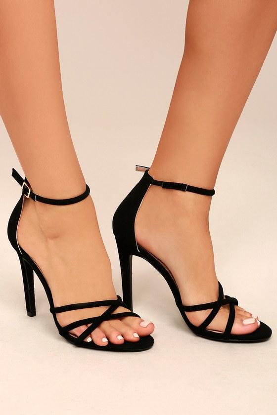 Michella Black Ankle Strap Heels 4