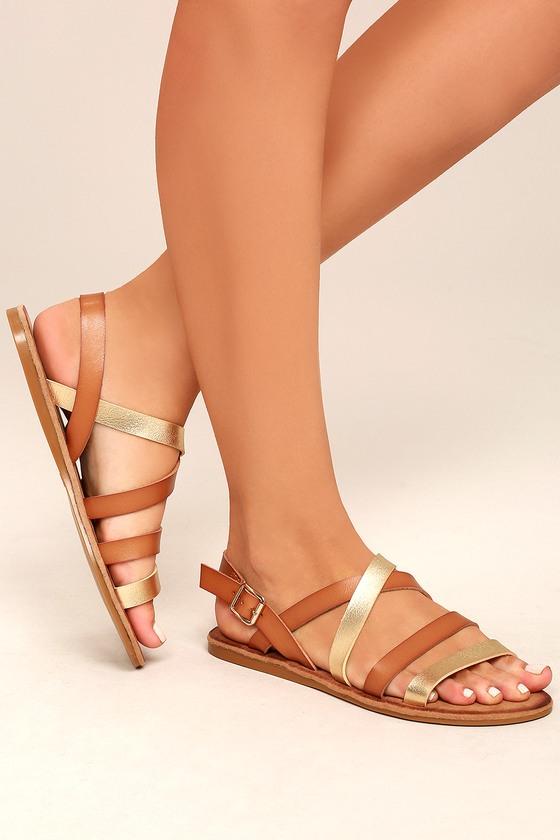 Haddie Tan Metallic Gladiator Sandals 4