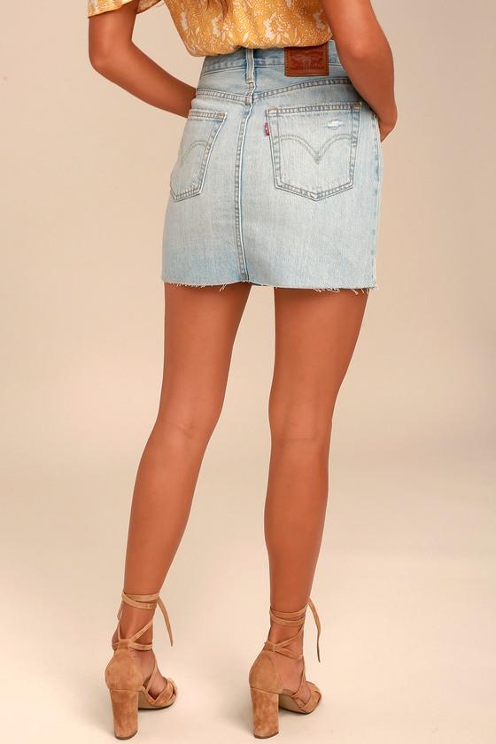 1e86b3303f Levi s® Deconstructed Skirt - Light Wash Denim Skirt - Denim Mini Skirt -   69.50