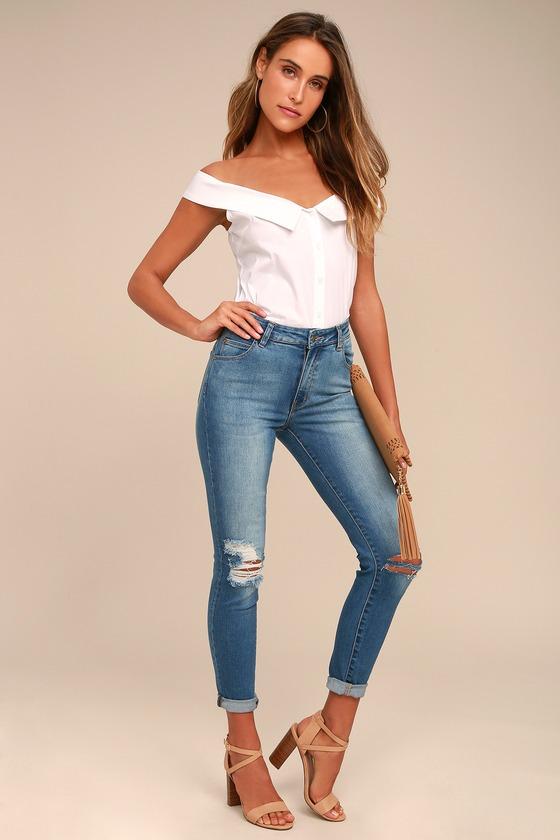 Rollas Westcoast Staple Medium Wash Distressed Skinny Jeans 1
