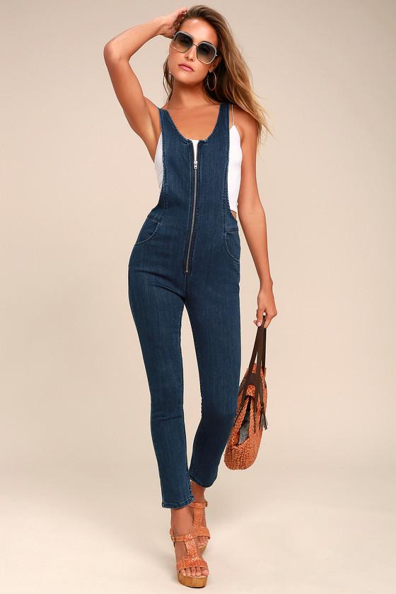 3f4f9725c896 Free People Jax Jumpsuit - Blue Denim Jumpsuit - Overalls - Zip-Front  Jumpsuit -  128.00