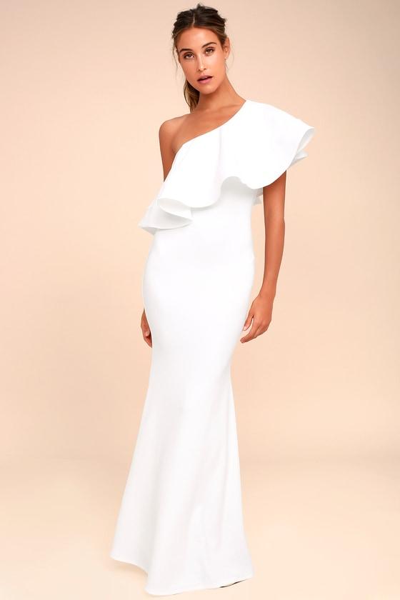 a39feda2192e Lovely White Dress - One-Shoulder Dress - Maxi Dress - $84.00