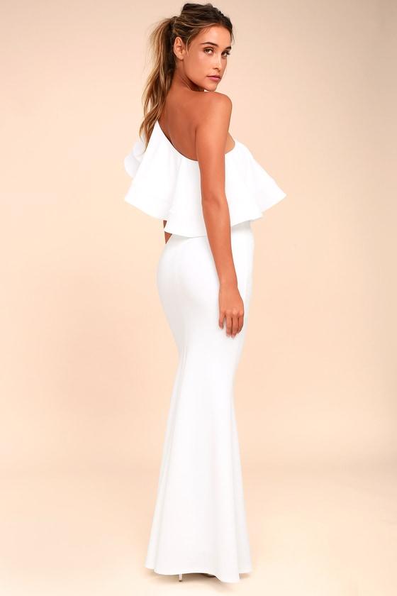 ced25da8f6d6f Lovely White Dress - One-Shoulder Dress - Maxi Dress - $84.00