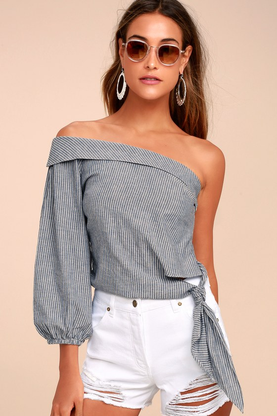 Free People Get Down Blue Striped One Shoulder Crop Top 1