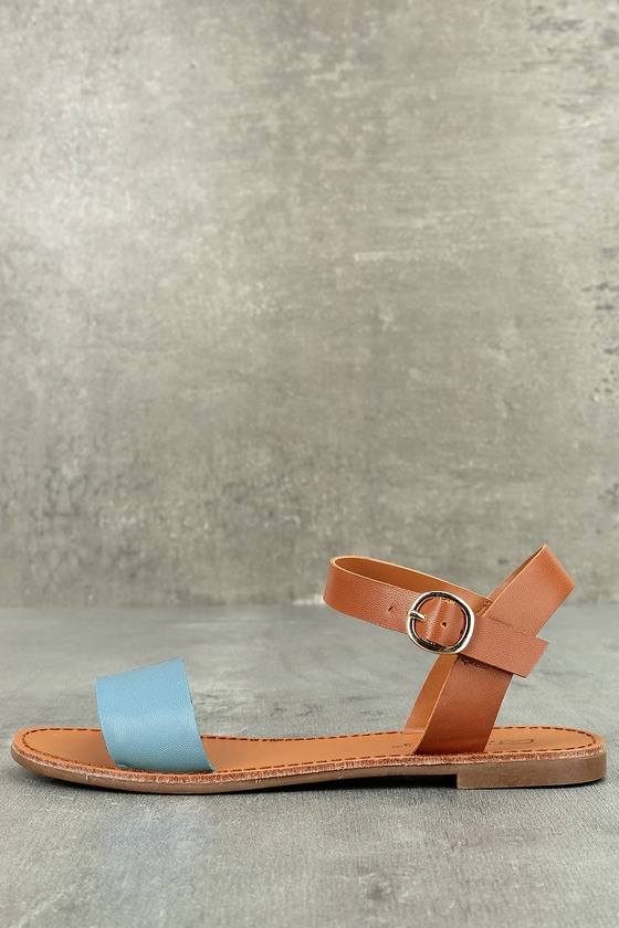 Hearts and Hashtags Blue Flat Sandals 1