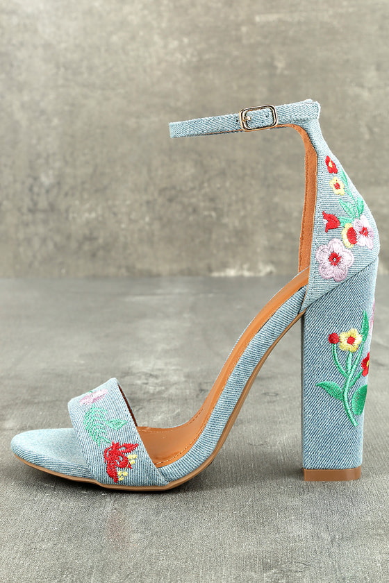 Suri Light Blue Embroidered Ankle Strap Heels 1