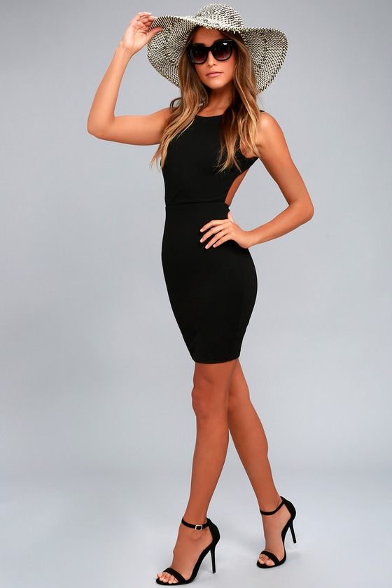 d56f1dd8d94 Black Dress - Backless Bodycon Dress - Fitted Bodycon Dress