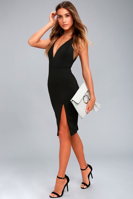 a03bffb7b8 Sexy Black Dress - Bodycon Dress - Midi Dress