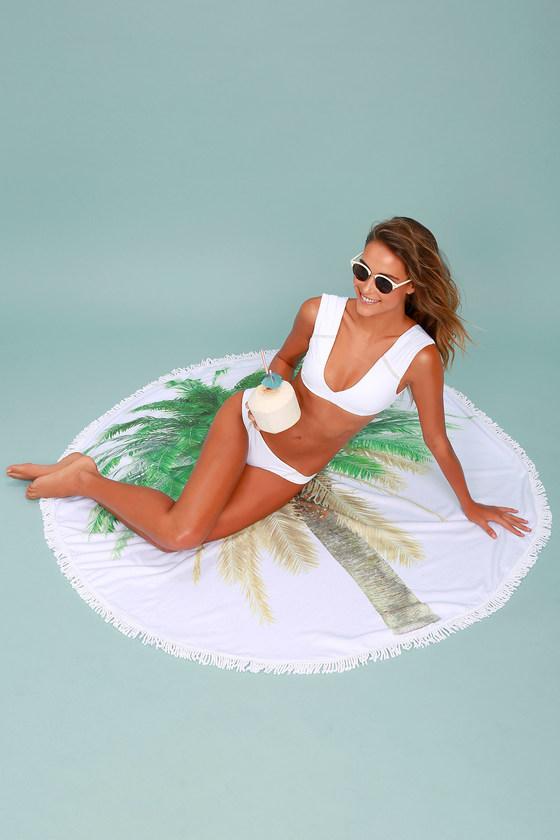 Island Life White and Green Print Beach Towel 2