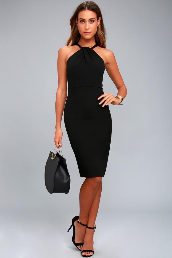 3f14c49883 Sexy Black Dress - Bodycon Dress - Midi Dress - LBD - Halter Dress