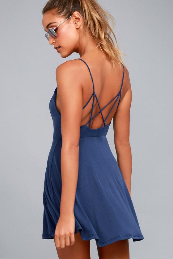 Cute Navy Blue Dress - Skater Dress - Jersey Knit Dress - Backless Dress eb6a6fb29
