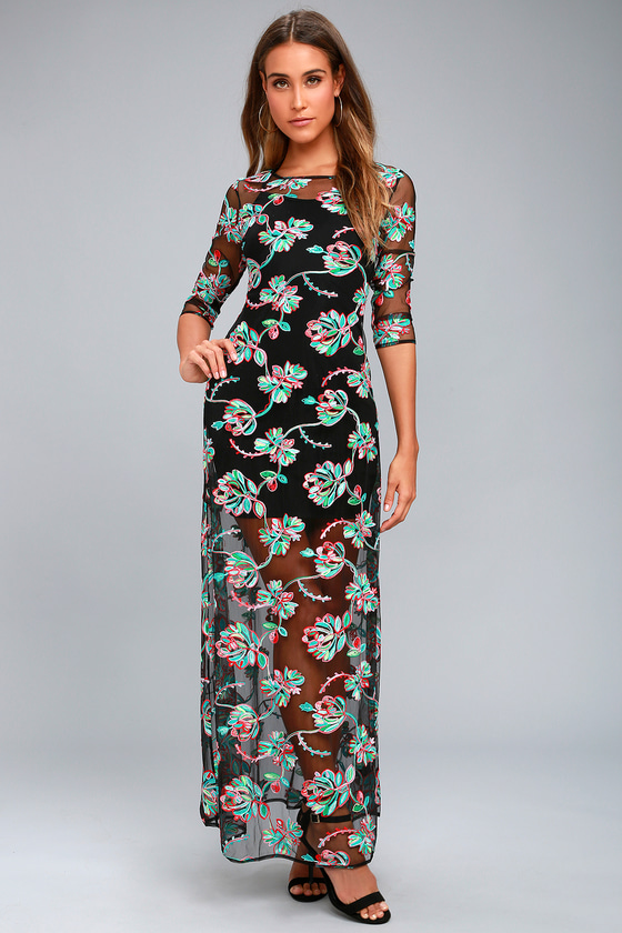 Bountiful Blossoms Black Embroidered Maxi Dress 1