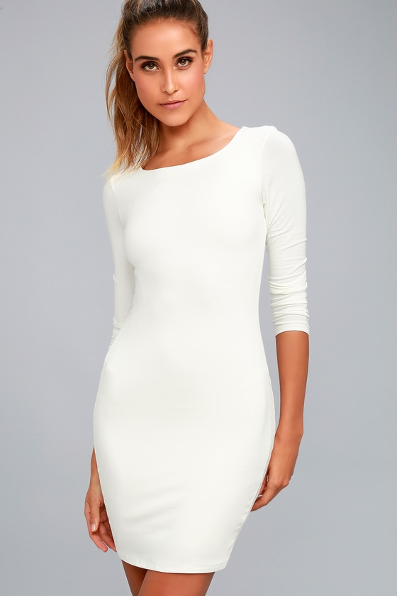 Peak of Chic White Long Sleeve Bodycon Dress 1