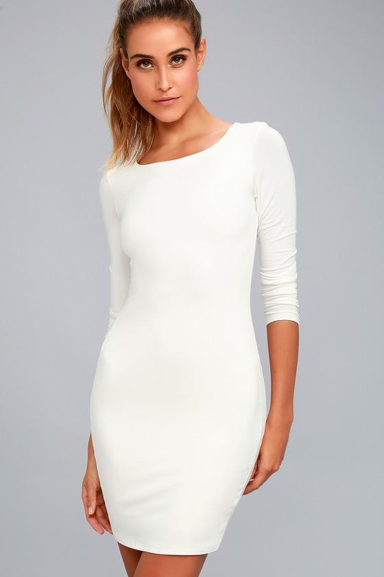 51429529e17e Sexy White Dress - LWD - Long Sleeve Dress - Bodycon Dress - $39.00