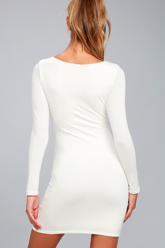 Sexy White Dress Lwd Long Sleeve Dress Bodycon Dress