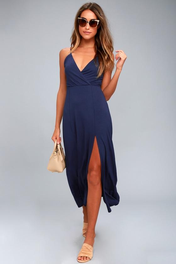 06bb7d2888e1 Chic Navy Blue Dress - Midi Dress - Sleeveless Dress