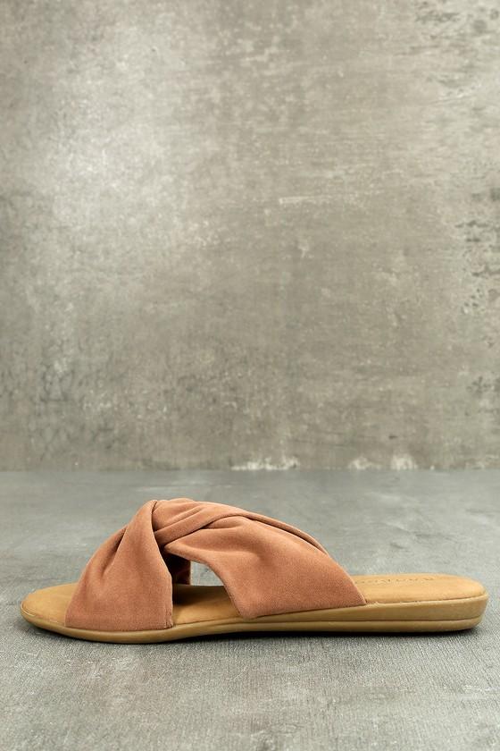 Santana Camel Flat Sandals 1