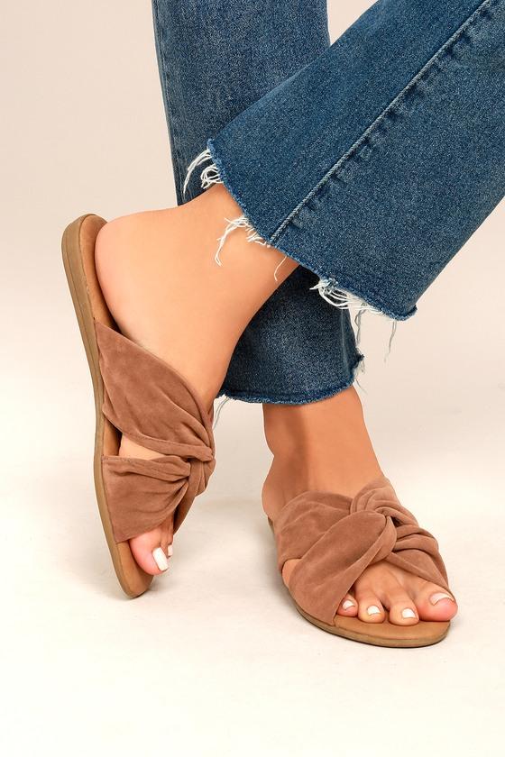a7061374e4c5 Cute Camel Sandals - Vegan Leather Sandals - Slide Sandals