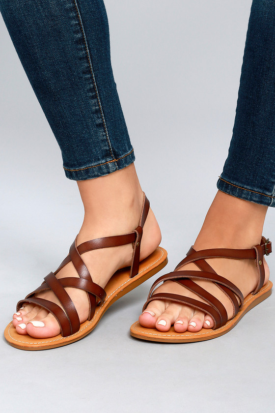 Brown Vegan Leather Sandals Cute Gladiator IYvfgb6y7