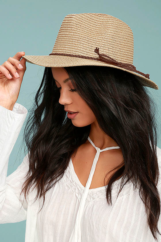 Love at Sunset Tan Straw Fedora Hat 3