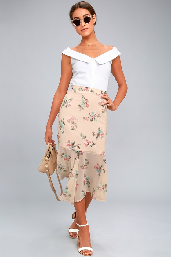 Bouquet Days Blush Floral Print Midi Skirt 1