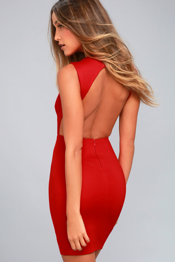 Hey Honey Red Backless Bodycon Dress 2