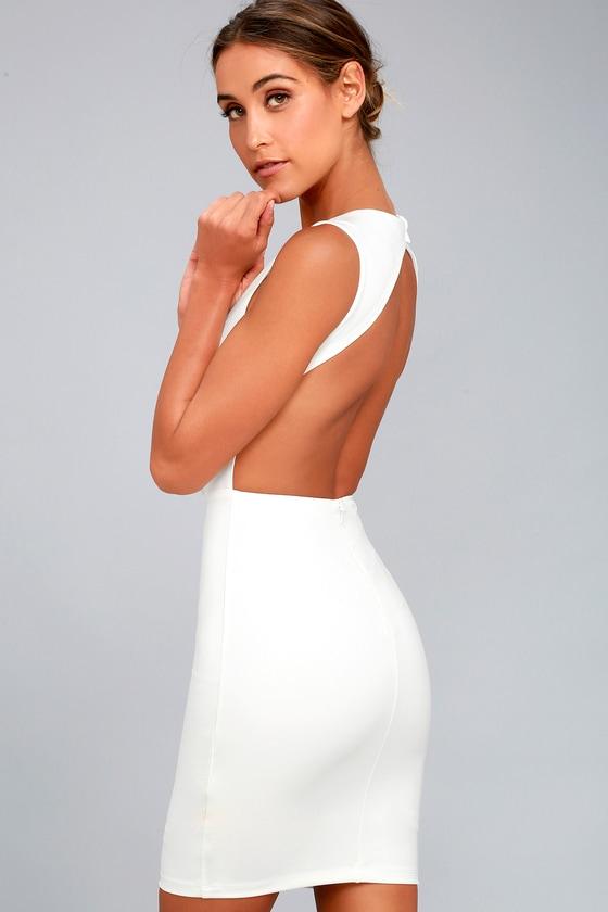 Hey Honey White Backless Bodycon Dress 2
