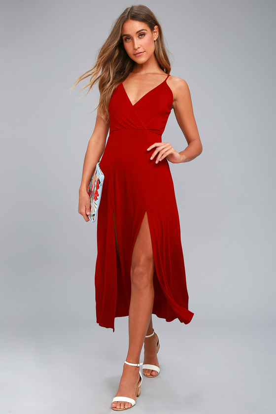 12a1488efbf Chic Red Dress - Midi Dress - Sleeveless Dress