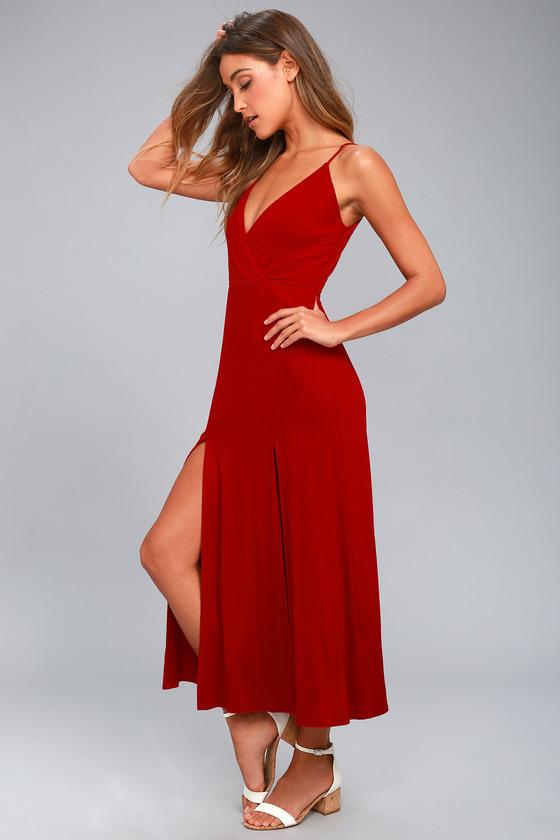 3f861e03d7474 Chic Red Dress - Midi Dress - Sleeveless Dress