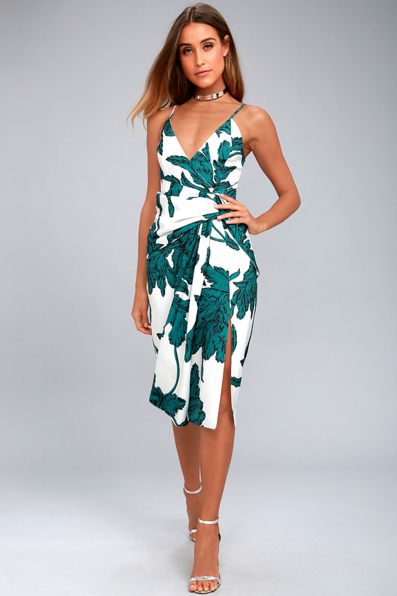 C/MEO Enlightened White and Green Print Midi Dress 1
