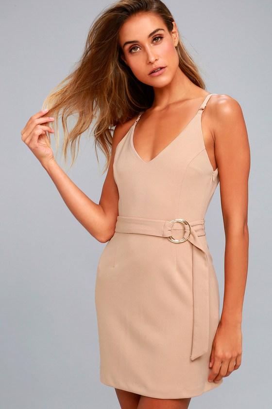 Belt it Out Nude Mini Dress 2