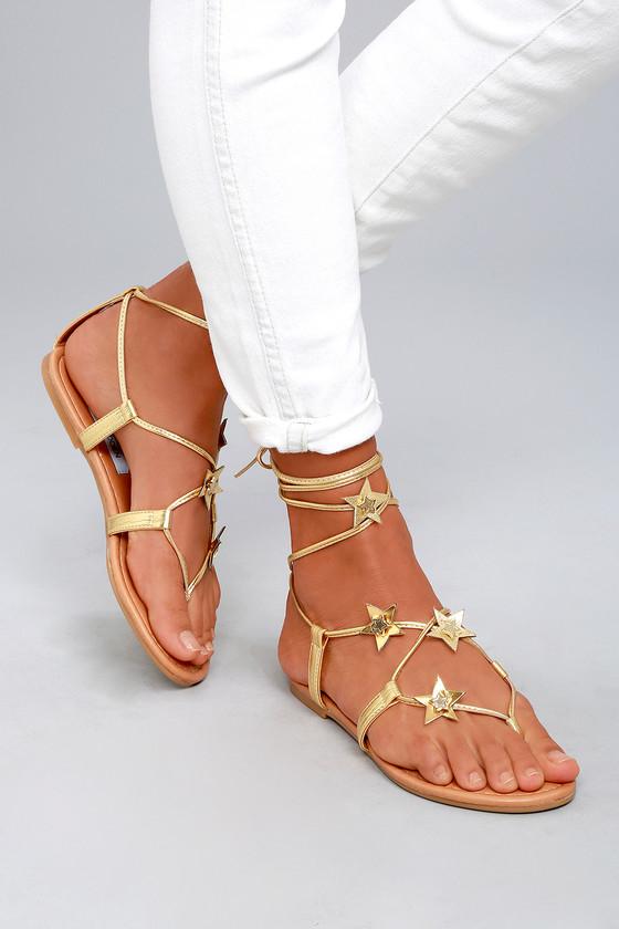75984ae0999b Steve Madden Jupiter - Gold Sandals - Lace-Up Sandals - Vegan Sandals