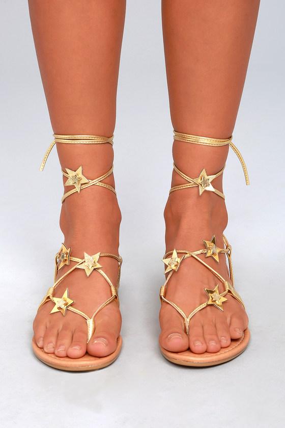 bba45228e30 Steve Madden Jupiter - Gold Sandals - Lace-Up Sandals - Vegan Sandals