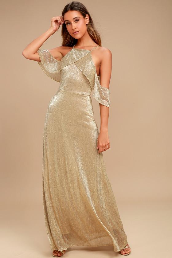 Shine Bright Gold Off-the-Shoulder Maxi Dress 1