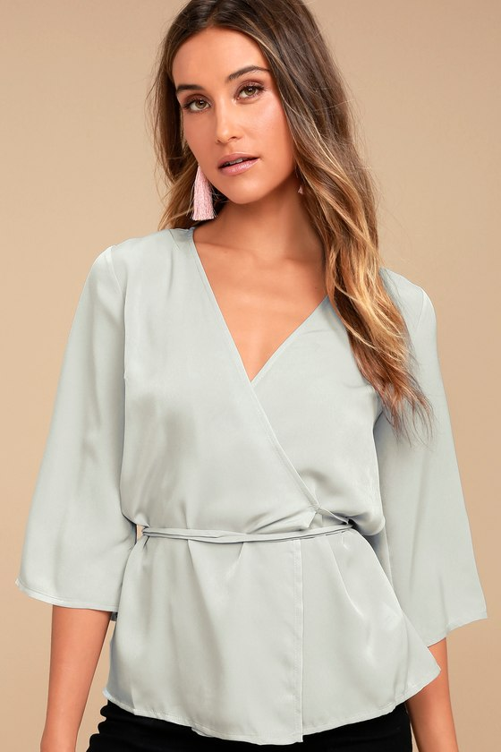 Sail the Riviera Grey Wrap Top 1