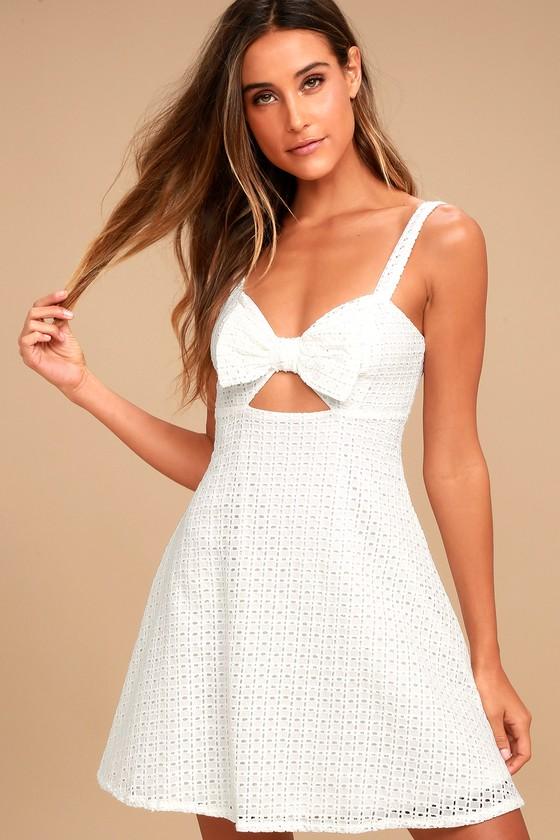 c1eee1b8c42 Cute White Dress - Crochet Lace Dress - Skater Dress - Bow Dress -  64.00