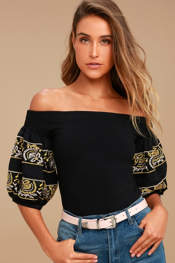139e722ee685d4 Free People Rock With It - Black OTS Top - Embroidered Top