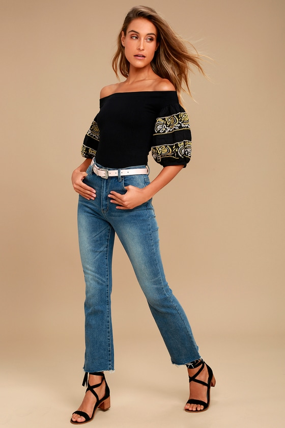 eaf9f75592768 Free People Rock With It Black Embroidered Off-the-Shoulder Top